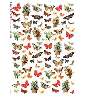 Carta di riso Decoupage: Farfalle e Vasi di Fiori