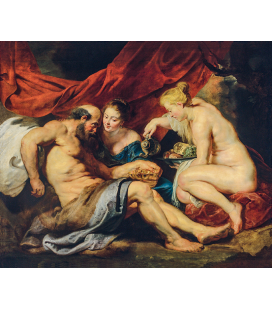 Peter Paul Rubens - Lot and his daughters. Printing on canvas