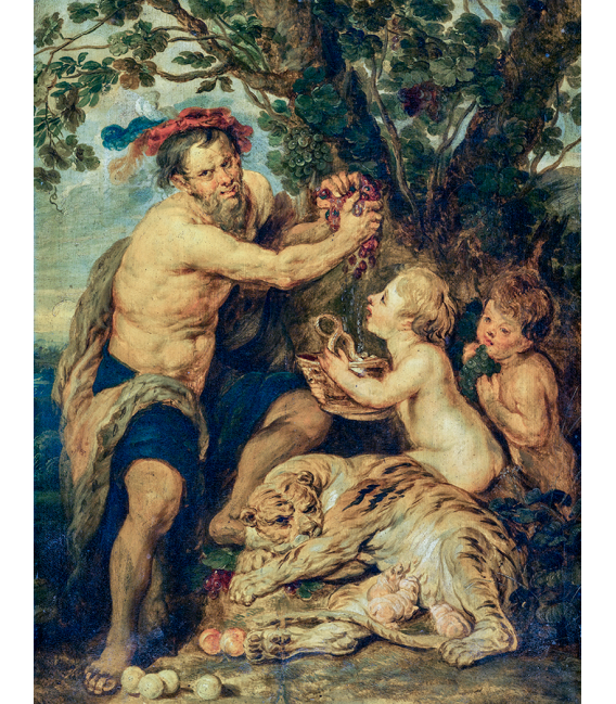Peter Paul Rubens - Man drinking with cherubs and a tiger. Printing on canvas