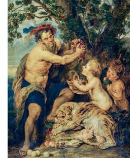 Peter Paul Rubens - Uomo che beve con putti e una tigre
