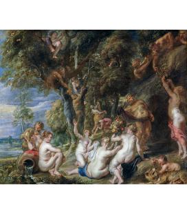 Peter Paul Rubens - Ninfee e Satiri, Stampa su tela