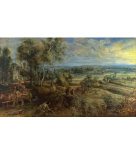 Peter Paul Rubens - Una vista di Het Steen al mattino presto, Stampa su tela