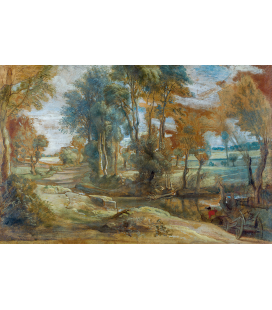 Peter Paul Rubens - A Wagon fording a Stream. Printing on canvas