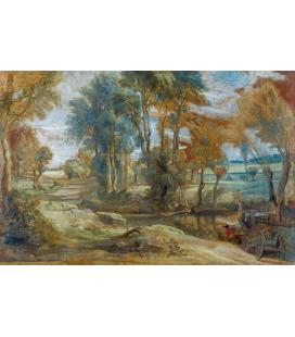 Peter Paul Rubens - Un carro guadando un flusso, Stampa su tela