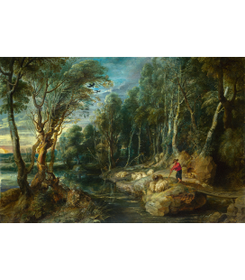Peter Paul Rubens - A Shepherd with his Flock in a Woody Landscape. Printing on canvas