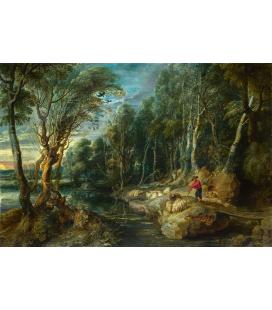 Peter Paul Rubens - Un pastore con il suo gregge in un paesaggio boscoso, Stampa su tela