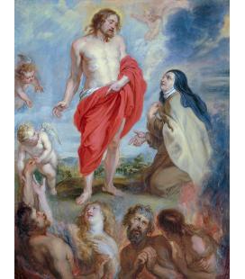 Peter Paul Rubens - Santa Teresa d'Avila intercede per le anime del Purgatorio, Stampa su tela