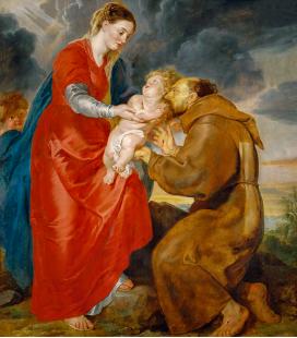 Peter Paul Rubens - La Vergine presenta il Bambino Jesù a San Francesco, Stampa su tela
