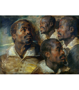 Peter Paul Rubens - Four studies of the head of a Moor. Printing on canvas