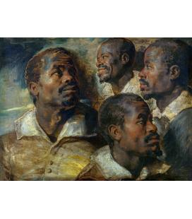 Peter Paul Rubens - Quattro Studi sulla testa di un nero. Stampa su tela