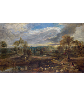 Peter Paul Rubens - Un paesaggio con un pastore e il suo gregge. Stampa su tela