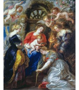 Peter Paul Rubens - Incoronazione di Santa Caterina. Stampa su tela