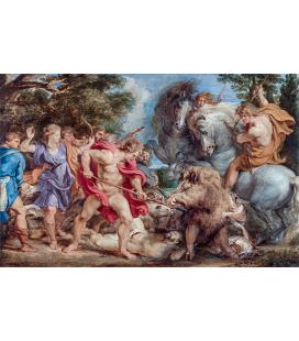 Peter Paul Rubens - Caccia al cinghiale Caledone. Stampa su tela