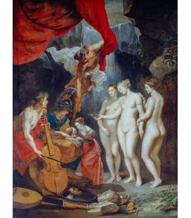 Peter Paul Rubens - L'educazione di Maria de Medici. Stampa su tela