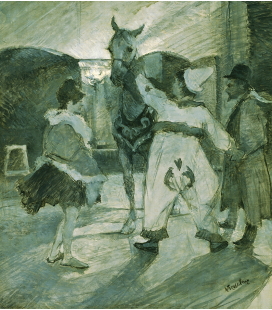 Henri de Toulouse-Lautrec - Dans les coulisses au Cirque. Printing on canvas