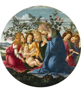 Sandro Botticelli - Madonna adorante il bambino con cinque angeli. Stampa su tela