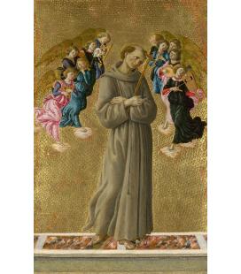 Sandro Botticelli - San Francesco d'Assisi con angeli. Stampa su tela