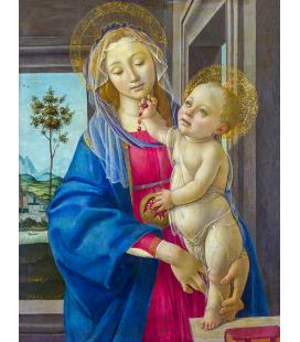Sandro Botticelli - La Vergine col bambino con un melograno. Stampa su tela