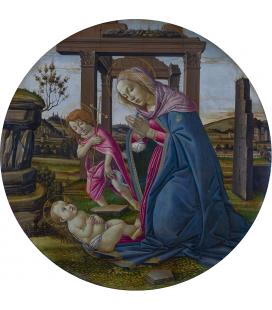 Sandro Botticelli - La Vergine e il bambino con San Giovanni Battista. Stampa su tela