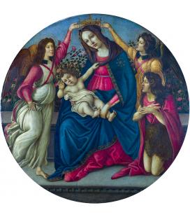 Sandro Botticelli - La Vergine col Bambino con San Giovanni e due angeli. Stampa su tela