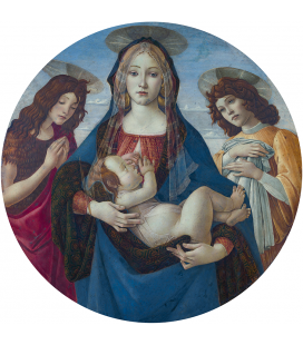 Sandro Botticelli - La Vergine e il bambino con San Giovanni e un angelo. Stampa su tela