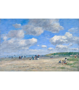 Boudin Eugène - The Beach at Tourgéville-les-Sablons. Printing on canvas
