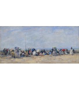Boudin Eugène - Scena della spiaggia, Trouville. Stampa su tela