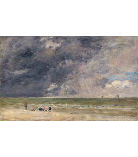 Boudin Eugène - Beach at Trouville. Printing on canvas