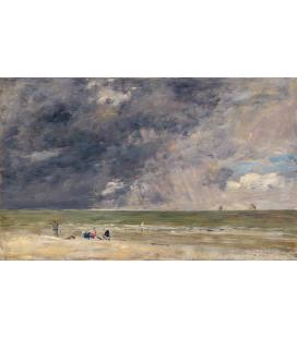 Boudin Eugène - Spiaggia a Trouville. Stampa su tela