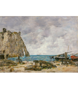Boudin Eugène - Étretat Beach. Printing on canvas