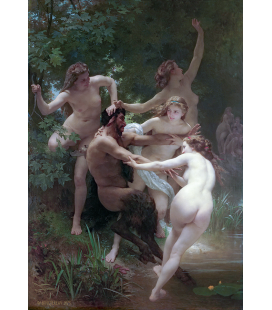 William Adolphe Bouguereau - Nymphs and Satyr. Printing on canvas