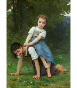 William Adolphe Bouguereau - The Horseback Ride. Printing on canvas