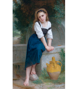 William Adolphe Bouguereau - Orfano vicino Fontana. Stampa su tela