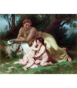 William Adolphe Bouguereau - Giovane donna che contempla due bambini che si abbracciano. Stampa su tela