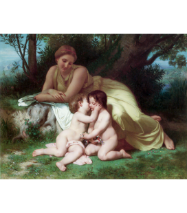 William Adolphe Bouguereau - Young woman contemplating two embracing children. Printing on canvas