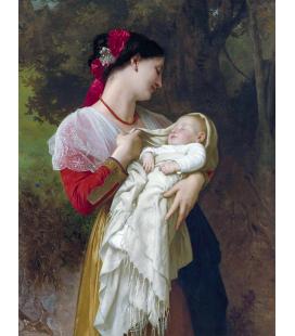 William Adolphe Bouguereau - Ammirazione materna. Stampa su tela