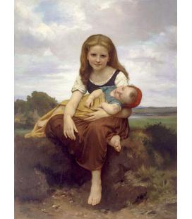 William Adolphe Bouguereau - La sorella maggiore. Stampa su tela
