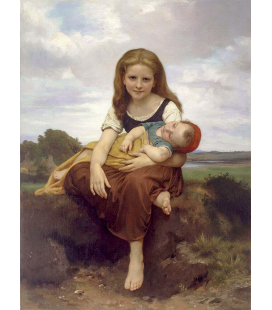 William Adolphe Bouguereau - The Elder Sister. Printing on canvas