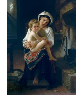 William Adolphe Bouguereau - Giovane madre che guarda al suo bambino. Stampa su tela