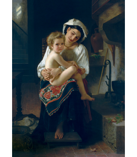 William Adolphe Bouguereau - Young Mother Gazing At Her Child. Printing on canvas