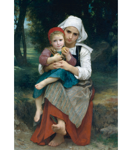 William Adolphe Bouguereau - Breton Brother and Sister. Printing on canvas