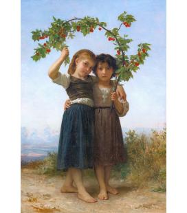 William Adolphe Bouguereau - Il ramo di ciliegio. Stampa su tela