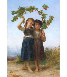 William Adolphe Bouguereau - The Cherry Branch. Printing on canvas