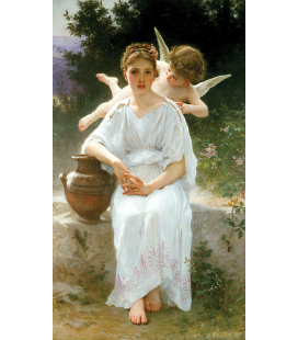 William Adolphe Bouguereau - Whisperings of Love. Printing on canvas