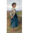 William Adolphe Bouguereau - The young shepherdess. Printing on canvas