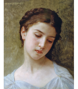 William Adolphe Bouguereau - Testa di una giovane ragazza. Stampa su tela