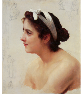 William Adolphe Bouguereau - Studio di una donna per l'offerta di amare. Stampa su tela