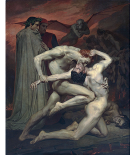 William Adolphe Bouguereau - Dante e Virgilio guardano l'inferno. Stampa su tela