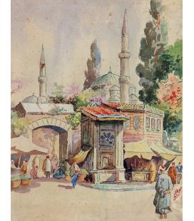 Abdul Qadir al-Rassam - Titolo sconosciuto. Stampa su tela