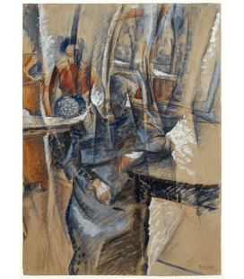 Boccioni Umberto - Interior with two female figures. Printing on canvas